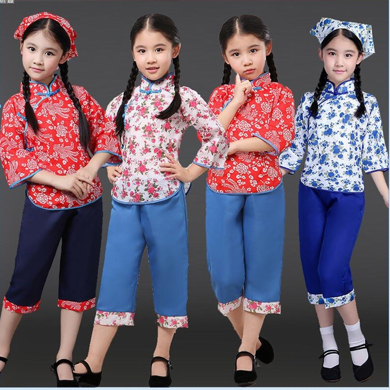 Childrens village girl Yangko performance dress flower girl country folk flower womens dress Republic of china dance performance dress
