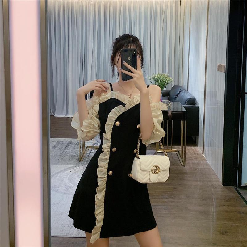 收腰显瘦吊带裙子mm斤气质法式复古连衣裙胖200夏季新款大码女装