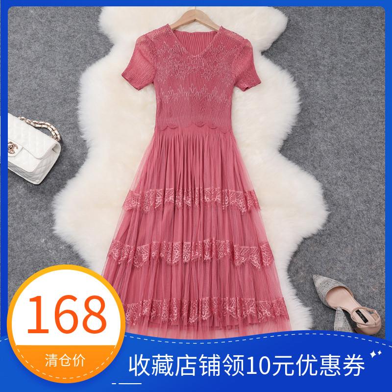 粉色贵夫人连衣裙2019新款夏季收腰显瘦修身气质过膝褶皱网纱长裙限时2件3折