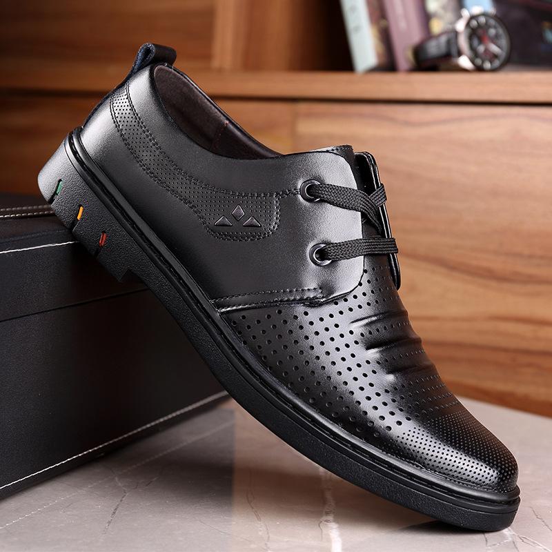 2019夏季镂空透气洞洞鞋男式休闲皮鞋商务正装系带皮鞋男Z20