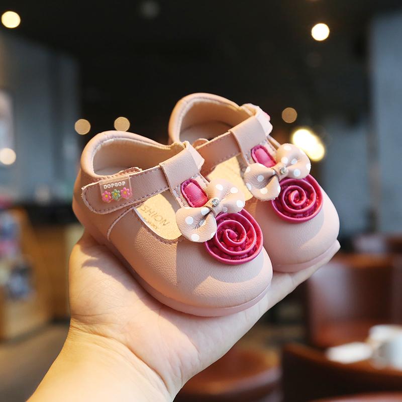 春秋季新款女宝宝单鞋0一1-2-3岁小童公主鞋子婴儿学步鞋软底皮鞋价格多少好不好用