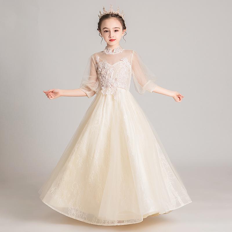 Công chúa váy cô gái phồng sợi hoa cô gái buổi tối sinh nhật váy trẻ em ít chủ nhà biểu diễn piano quần áo phong cách nước ngoài - Váy trẻ em