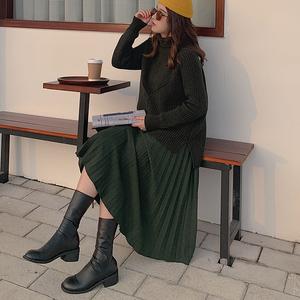 裂渡微胖女装定制冬大码宽松中长款百褶裙女高腰胖妹妹伞裙半身裙