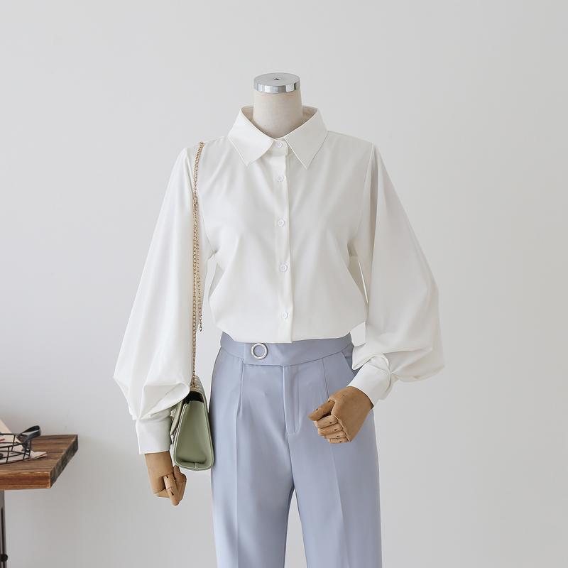 心机设计感小众灯笼袖衬衫女2020春装新款慵懒风宽松白色长袖衬衣 - 封面