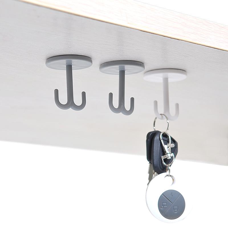 强力粘胶挂钩承重创意厨房壁柜底部垂直粘钩挂勾宿舍房顶竖挂钩。