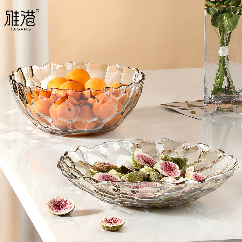 水晶玻璃水果盘客厅家用零食盘子
