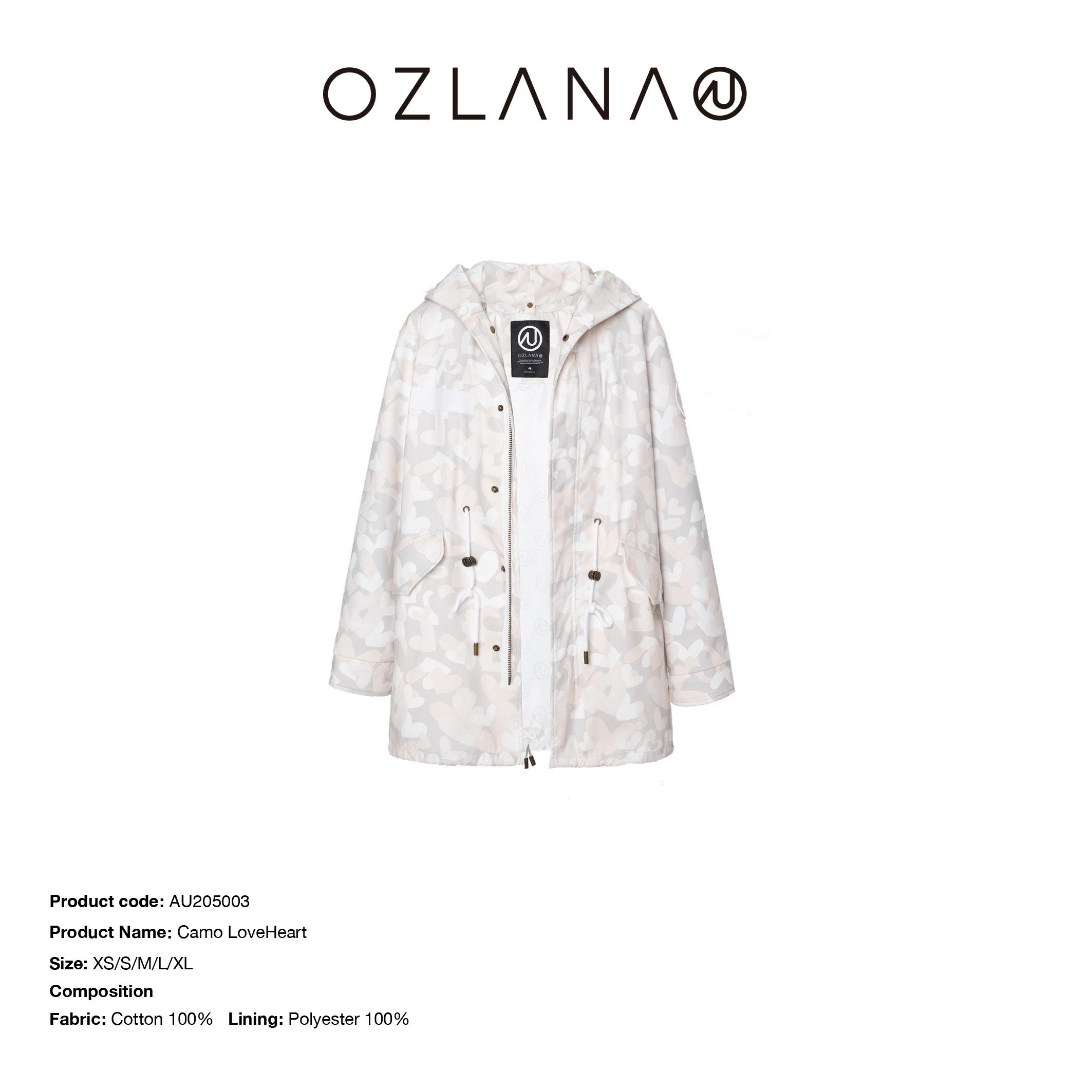 Ozlana设计师款连帽外壳大衣中长款可替换皮草派克服外套女