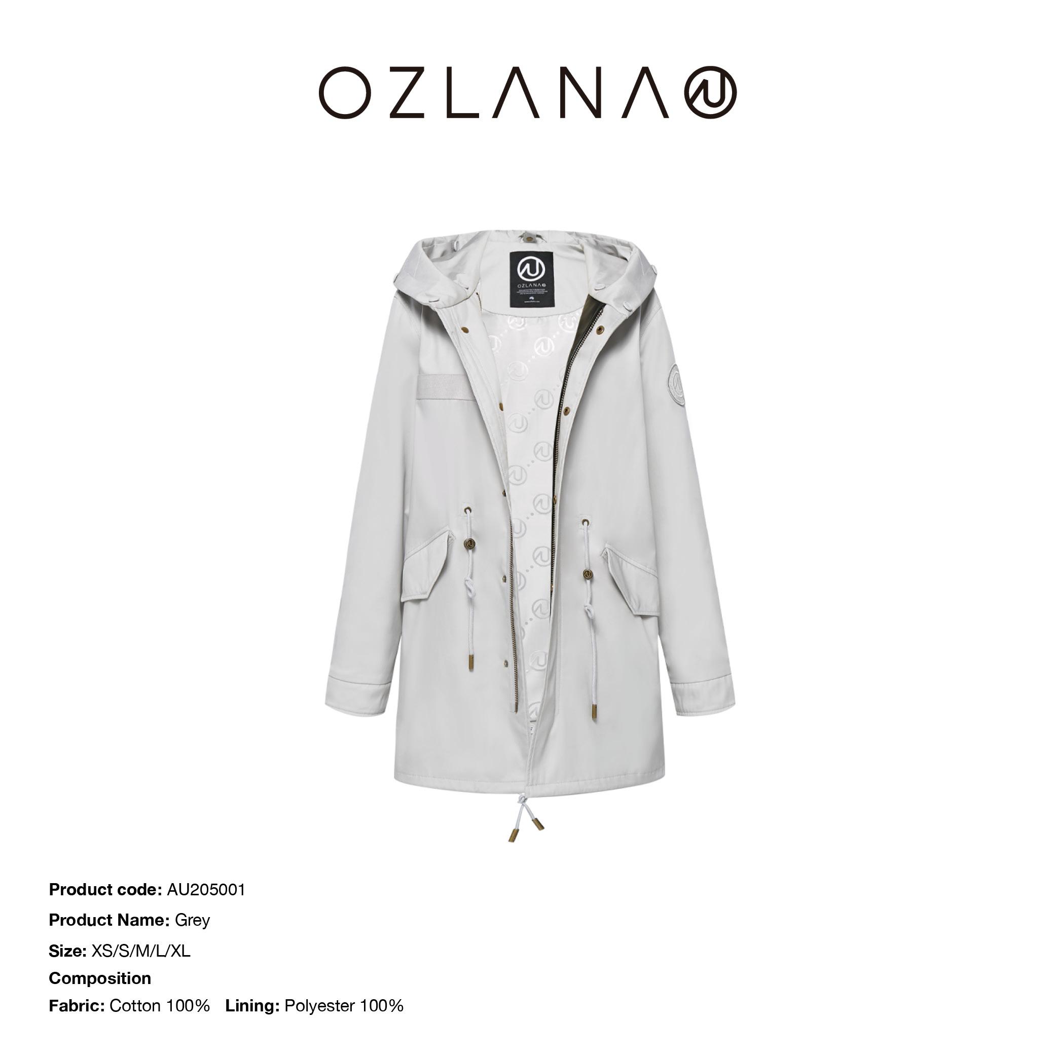 OZLANA2020冬款外壳大衣欧美风连帽长款派克服外套可替换皮草外壳