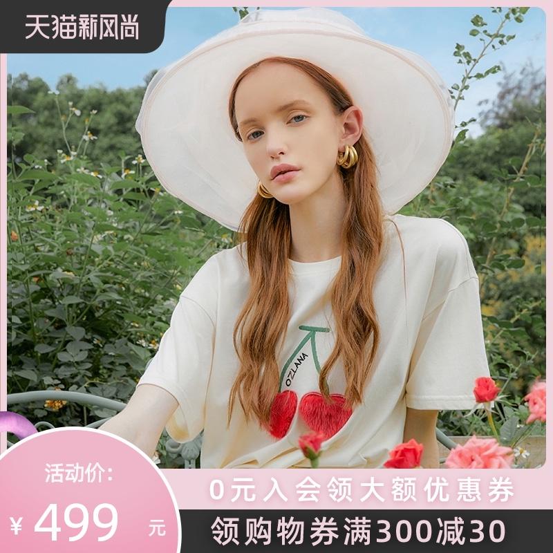 OZLANA夏季轻奢安妮系列可撕拉羊毛贴章卡通图案短袖T恤上衣女