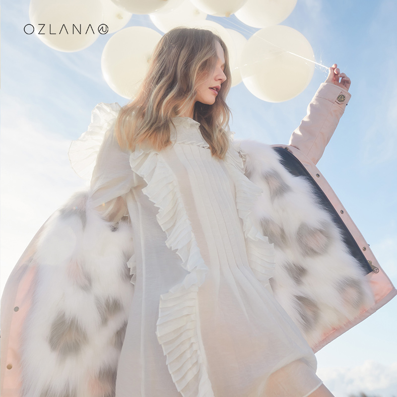 Ozlana2020 autumn and winter new fur winter jacket pie overcomes female fur one fur collar fur coat