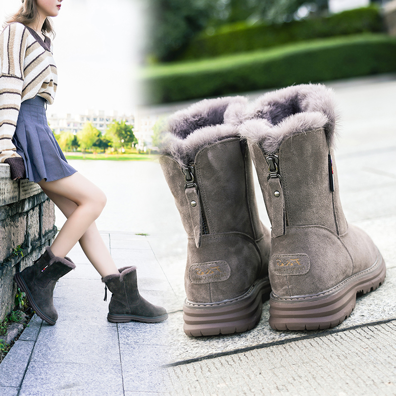 New fashion mid tube cotton shoes with Angora rabbit hair inside and thick bottom snow boots with zipper in autumn and winter of 2019
