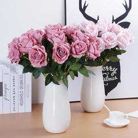 假花单支玫瑰花束仿真插花婚庆家居客厅摆件摆设绢花装饰干花室内