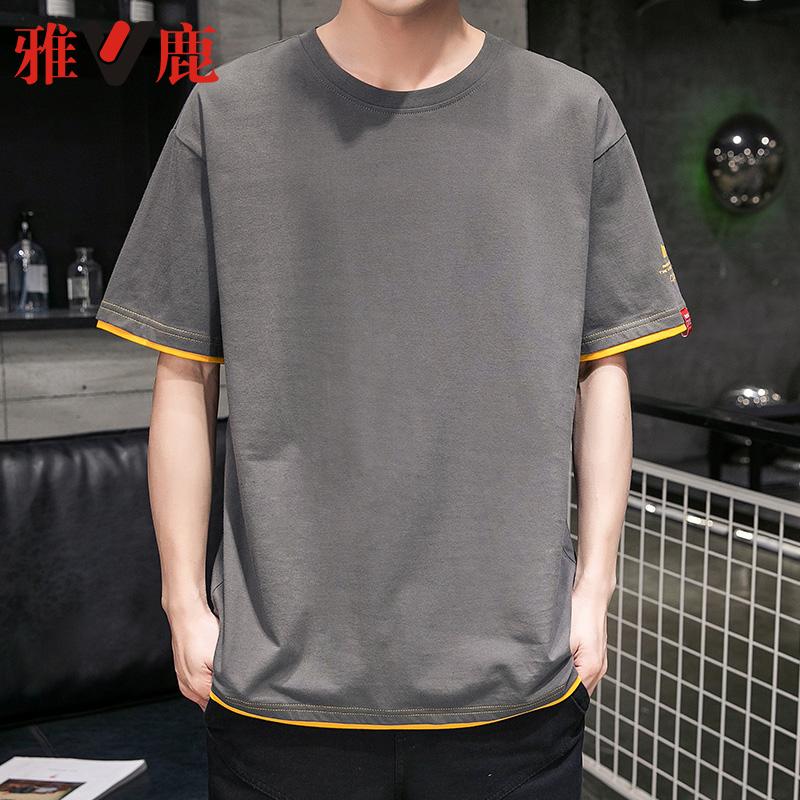 雅鹿男士短袖T恤潮牌男装潮流体恤上衣服纯棉黑色打底衫夏季宽松图片