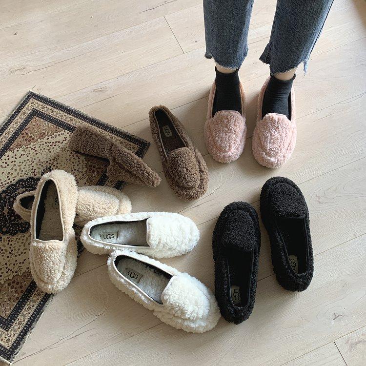 2019年新款网红毛毛鞋女冬外穿羊羔毛豆豆鞋百搭一脚蹬加绒平底鞋