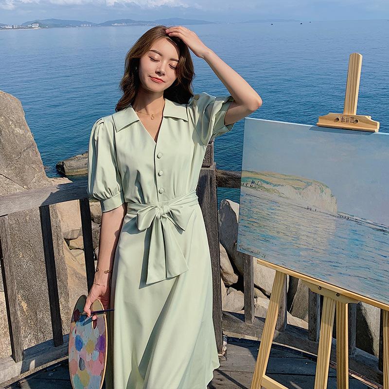 2021夏季新品宽高腰翻领泡泡袖V领衬衫裙显瘦气质长款纯色连衣裙