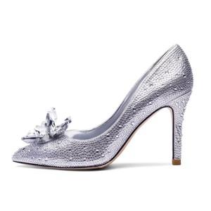婚鞋女水晶鞋灰姑娘2021新款细跟水钻公主婚纱高跟结婚鞋子新娘鞋