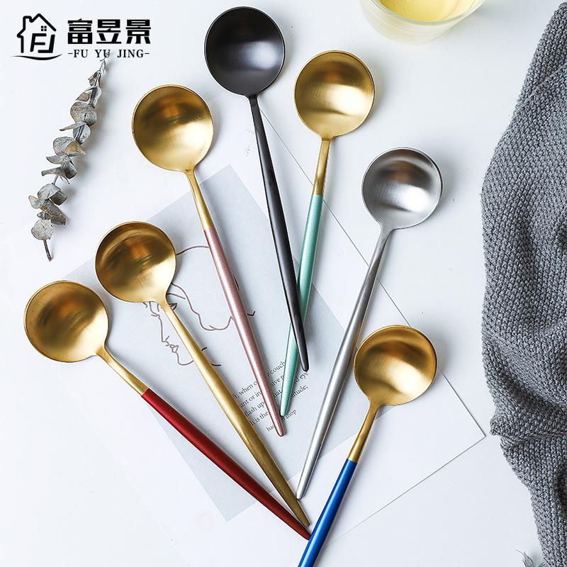 富昱景 不锈钢勺子西餐餐具套装 创意咖啡勺冰勺汤勺长柄勺