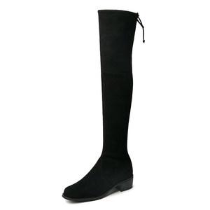 2019秋冬长靴女过膝显瘦平底圆头粗跟长筒靴重跟加绒高筒弹力靴子