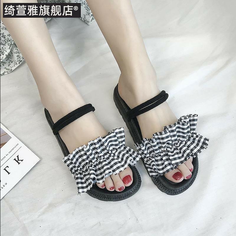 鞋子女2019潮鞋单鞋夏季凉鞋网红超火2019凉鞋女凉鞋包头女水晶