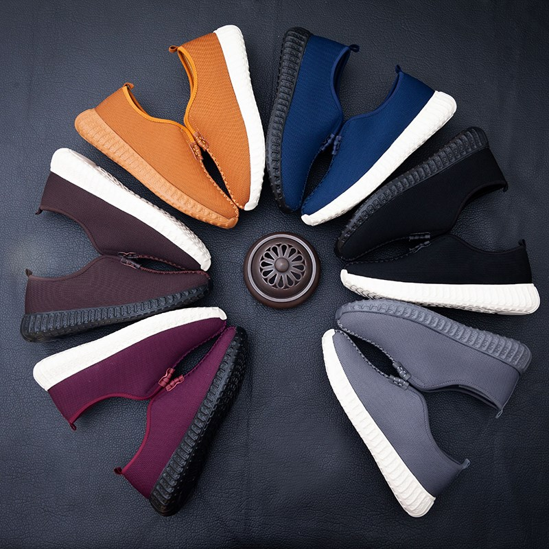 Monks shoes woven with air permeability fathers monks shoes old mans antiskid elastic cloth shoes sports soft soled monks shoes