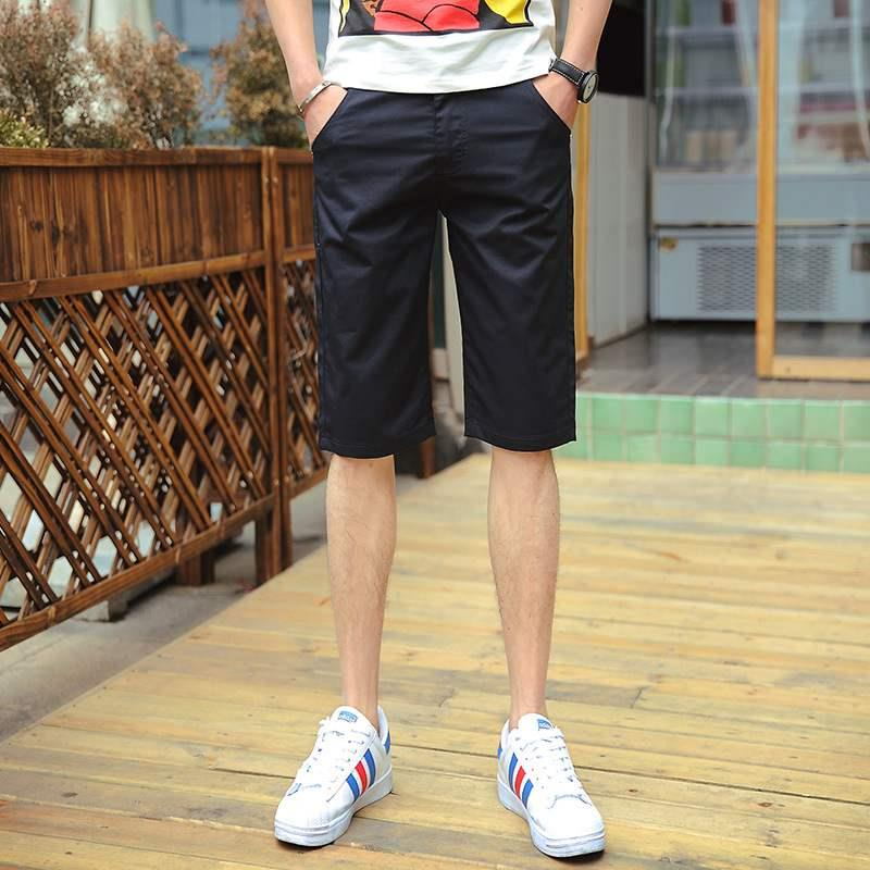 Capris mens summer fashion trend versatile slim fit pure cotton mens Shorts Youth Korean mens casual pants