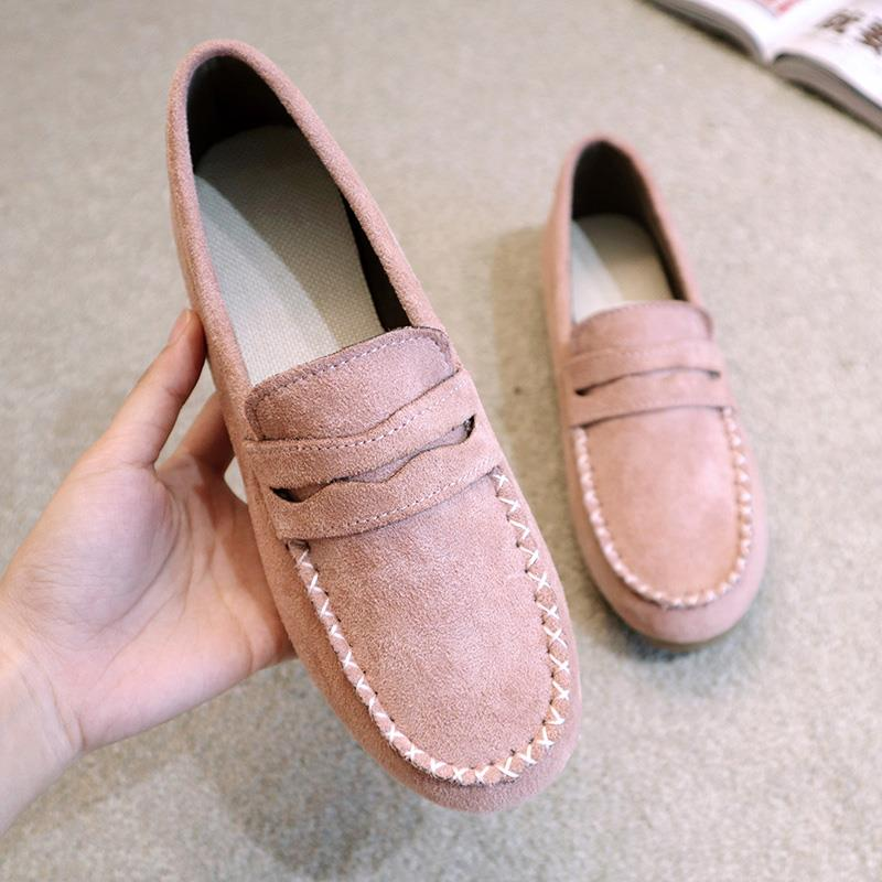 Light color flat heel middle aged womens fashion in summer Oxford sole Doudou shoes womens flat sole single shoes cow tendon soft bottom shallow mouth