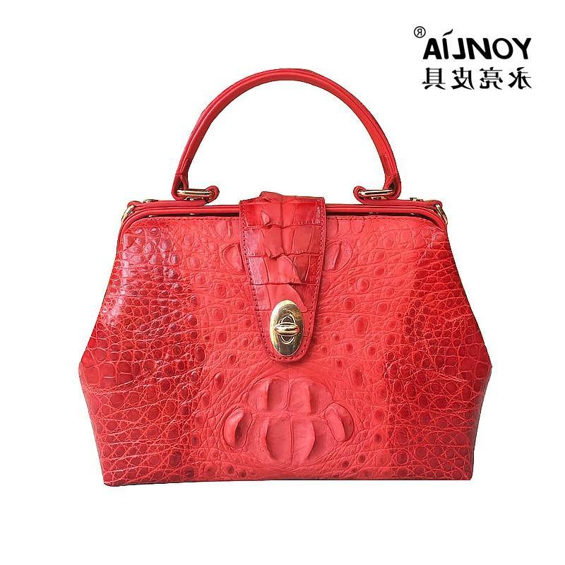 Imported brand leather goods new crocodile leather ladys handbag fashion handbag doctors bag One Shoulder Satchel