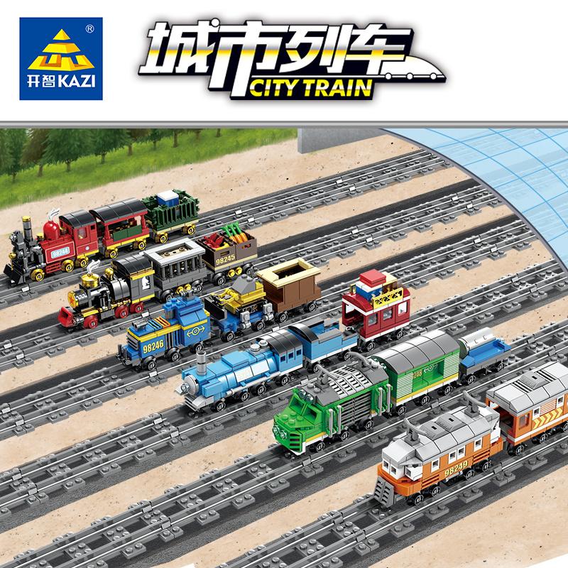 满70.00元可用35元优惠券开智樂高积木轨道火车玩具城市系列儿童益智拼装玩具男孩子10岁12
