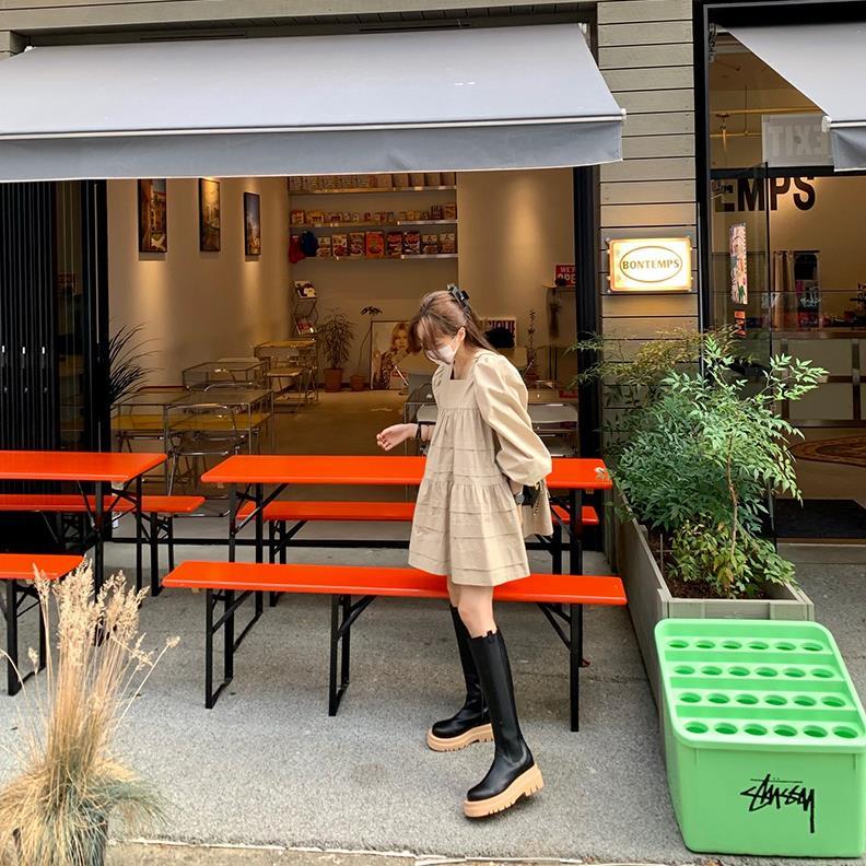 Miweike韩国东大门代购21新秋款简约宽松甜美方领迷你连衣裙