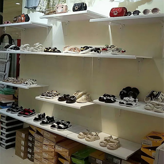 成人儿童鞋店货架鞋架包包架鞋子展示架上墙鞋架烤漆木板隔板鞋托图片