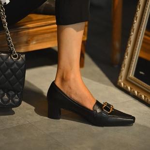 复古小皮鞋 女尖头单鞋 女中跟2020秋季 通勤粗跟高跟鞋 新款 法式