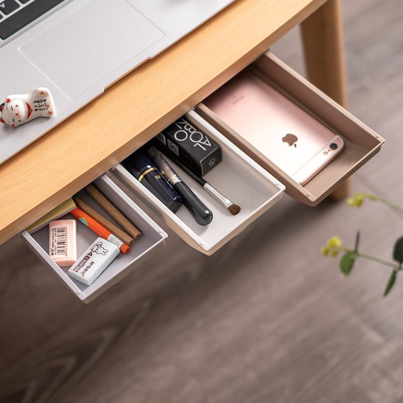 创意桌下抽屉式收纳盒学生隐藏文具盒办公室笔筒家居桌底杂物收纳图片