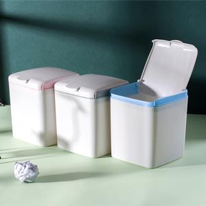创意桌面迷你垃圾桶带盖北欧壁挂式家用卧室床头柜车载垃圾桶小型图片