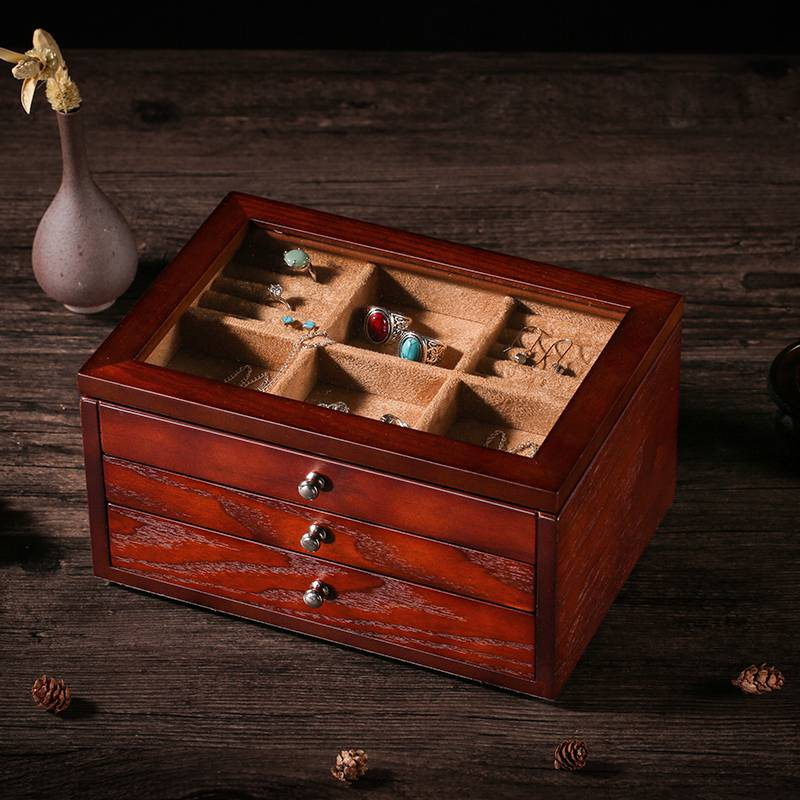 ? Fraxinus mandshurica wooden jewelry box multi-layer antique Bracelet Ring Earring Jewelry Storage Box