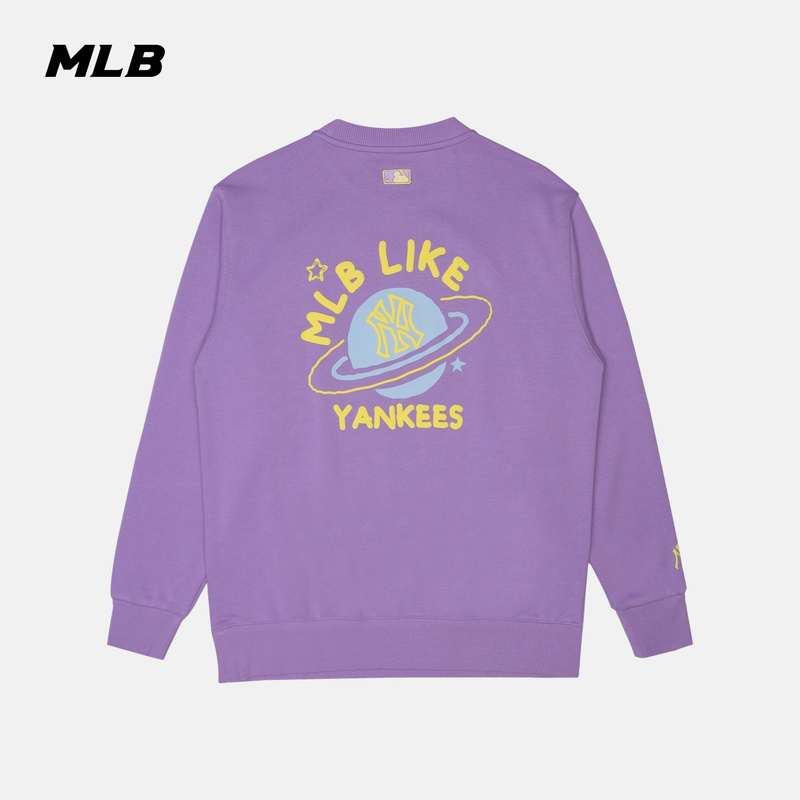 MLB official men's and women's sweater LIKE round neck long sleeve loose graffiti printing sports casual fashion autumn and winter new