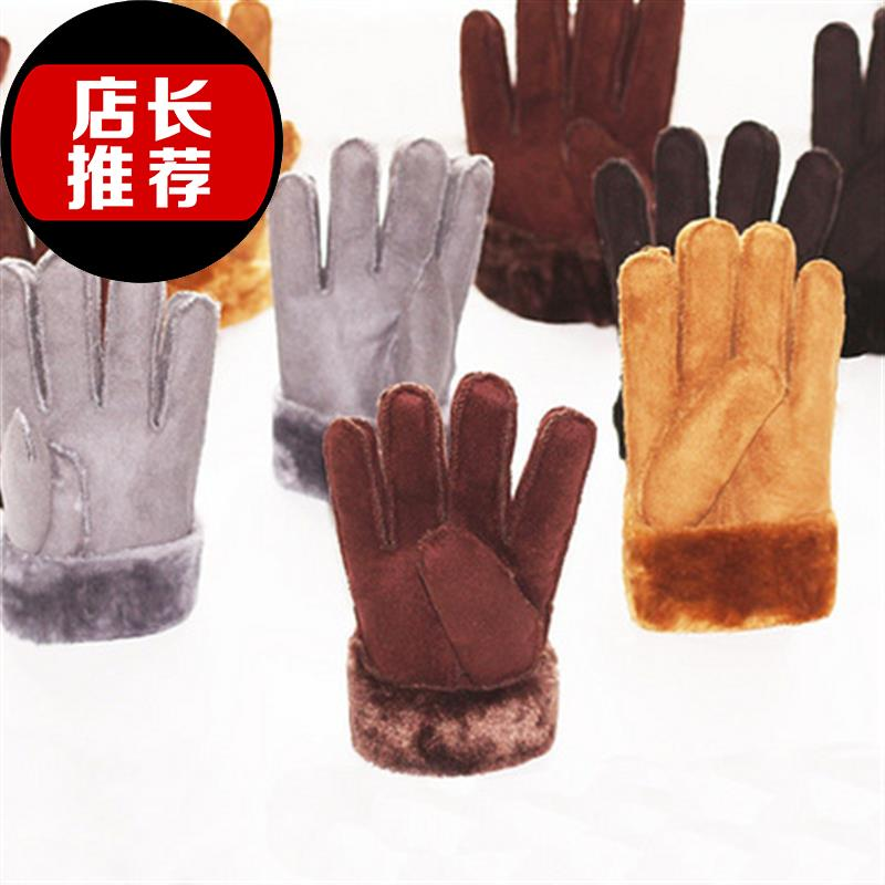 Suede fashion non leather gloves mens and womens cycling a thickened Riding Gloves Winter Warm plush