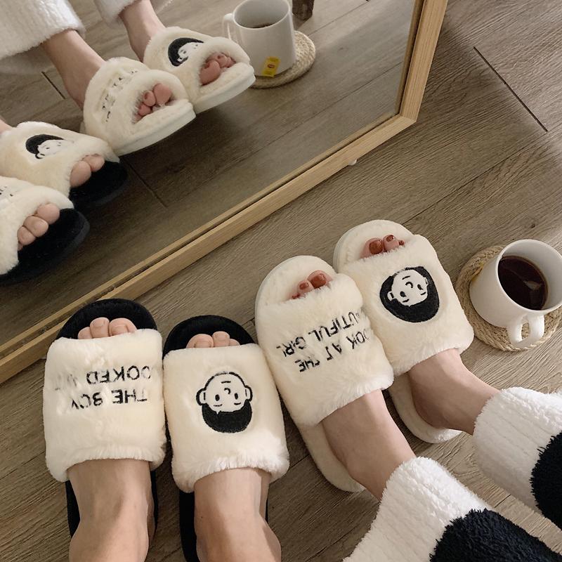 韩版秋冬毛绒绒时尚家居室内一字毛毛棉拖鞋女外穿情侣防滑月子鞋图片