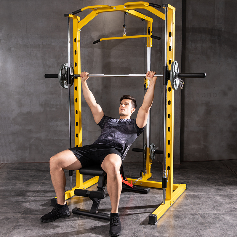 Functional fitness equipment comprehensive training track squatting frame gantry pusher barbell frame weight lifting bed more