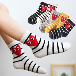 儿童袜子中筒潮袜男女童3-5-9岁秋冬小中大童运动爱心棉袜韩版5双