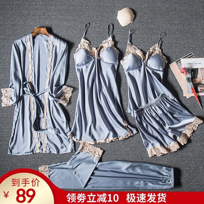 睡衣女春秋冰丝绸五件套装性感吊带睡裙睡袍夏季薄款女士家居服