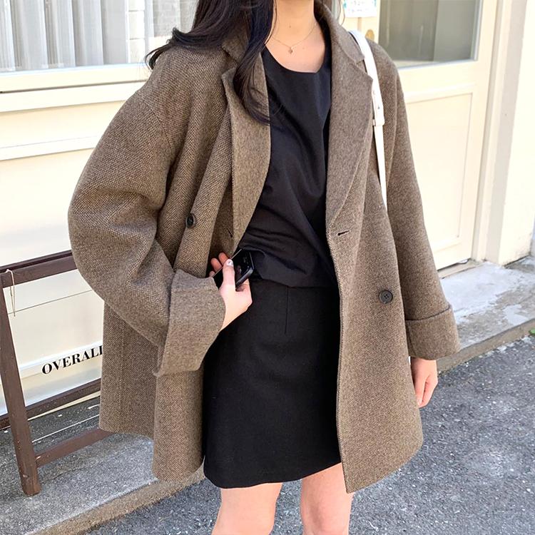 双面羊绒大衣女短款韩国20秋冬新款手工格子复古西装穿搭毛呢外套