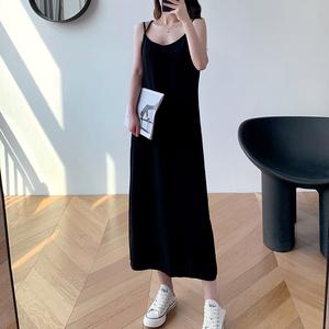 KAYAIV白色连衣裙法式复古2020新款V领中长款内搭无袖打底吊带裙