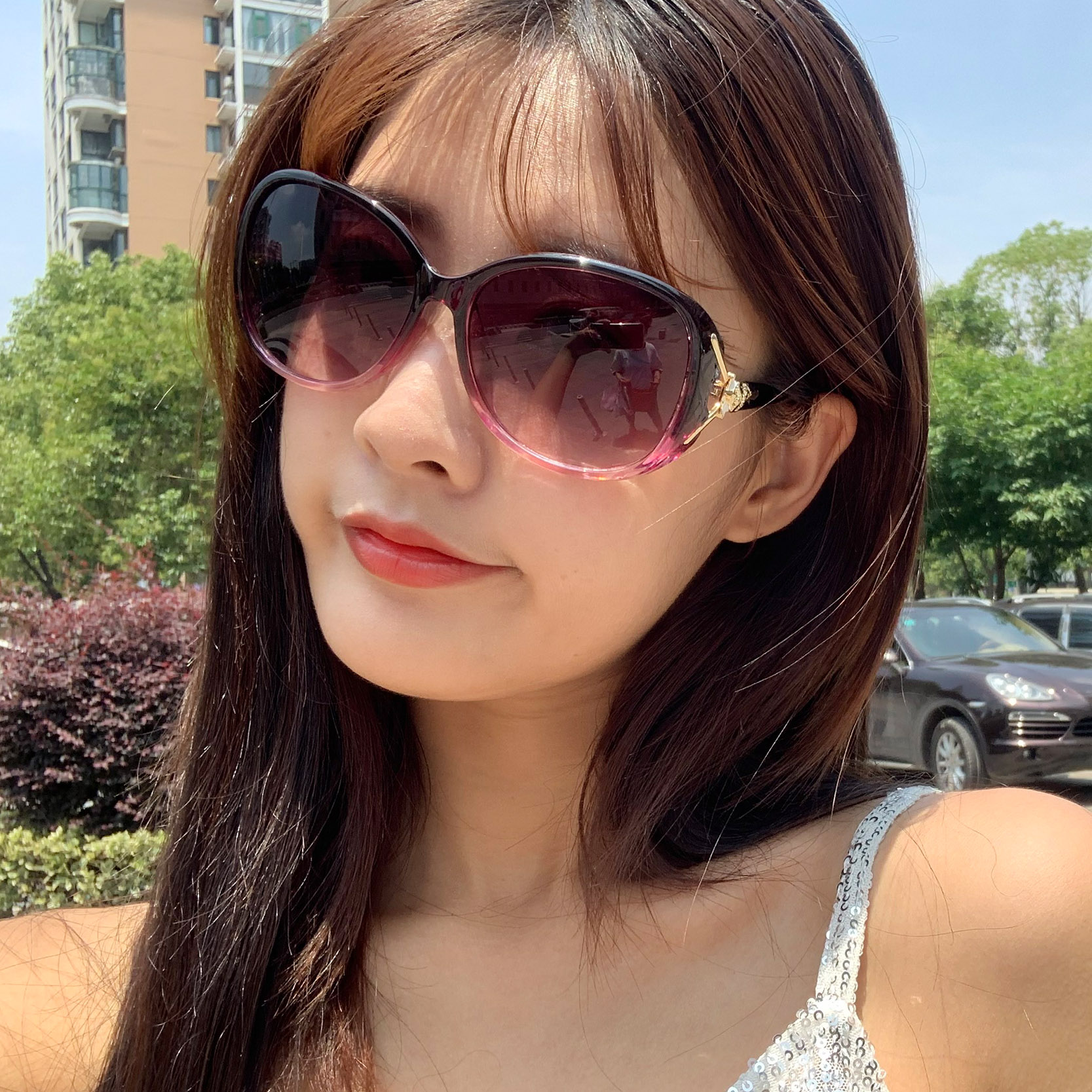 2019 womens Sunglasses new simple UV proof Sunglasses fashionable round face long face glasses