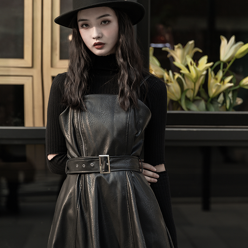 Zebra slim skirt spring sling skirt leather skirt black dress female Yamamoto Yaosi style skirt long skirt
