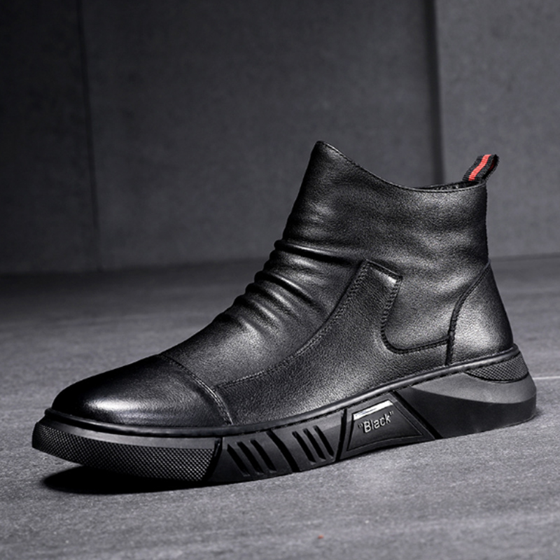 Mens shoes 2021 new fashion summer Martin boots mens high top mens leather zipper soft shoes casual leather boots