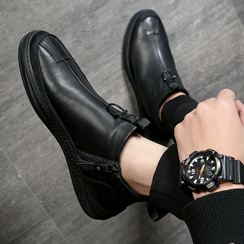 Summer leather shoes mens breathable summer mens flat bottom black one foot soft leather soft bottom mid top shoes mens casual shoes