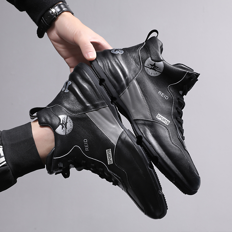 Shoes mens 2021 new high top one legged mens shoes mens casual leather sports shoes mens full leather casual shoes