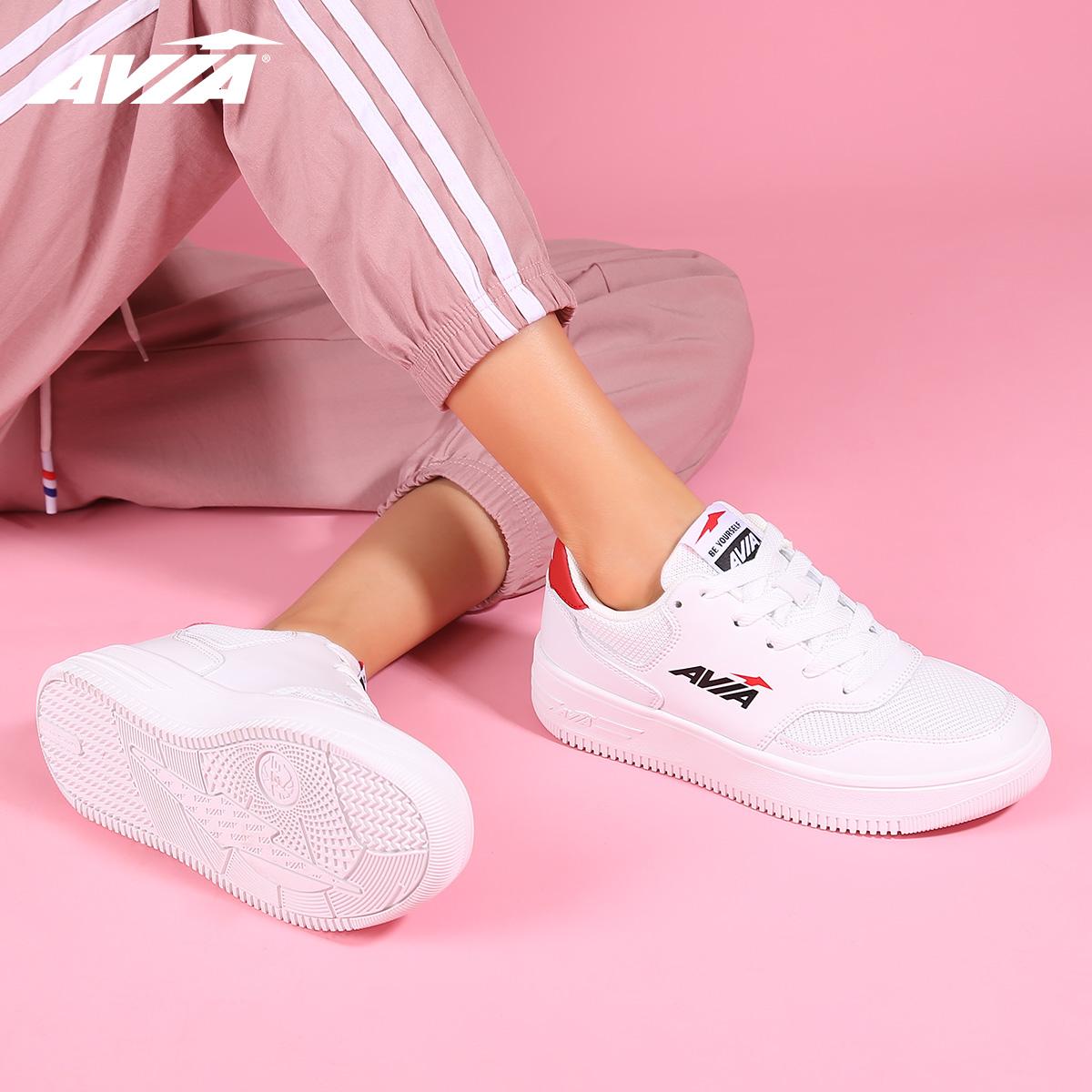 AVIA爱威亚2020春夏新款情侣板鞋女小白鞋低帮网面休闲男运动板鞋