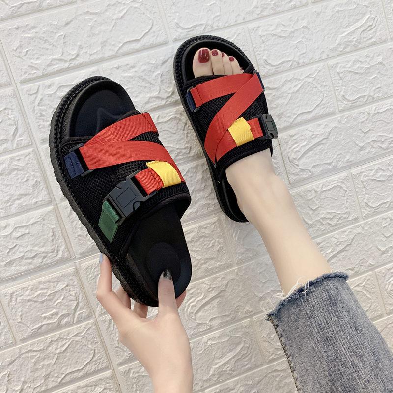 需要用券日本流时尚网红户外凉拖鞋拖海边沙滩平跟韩版潮拖鞋女夏外穿防滑