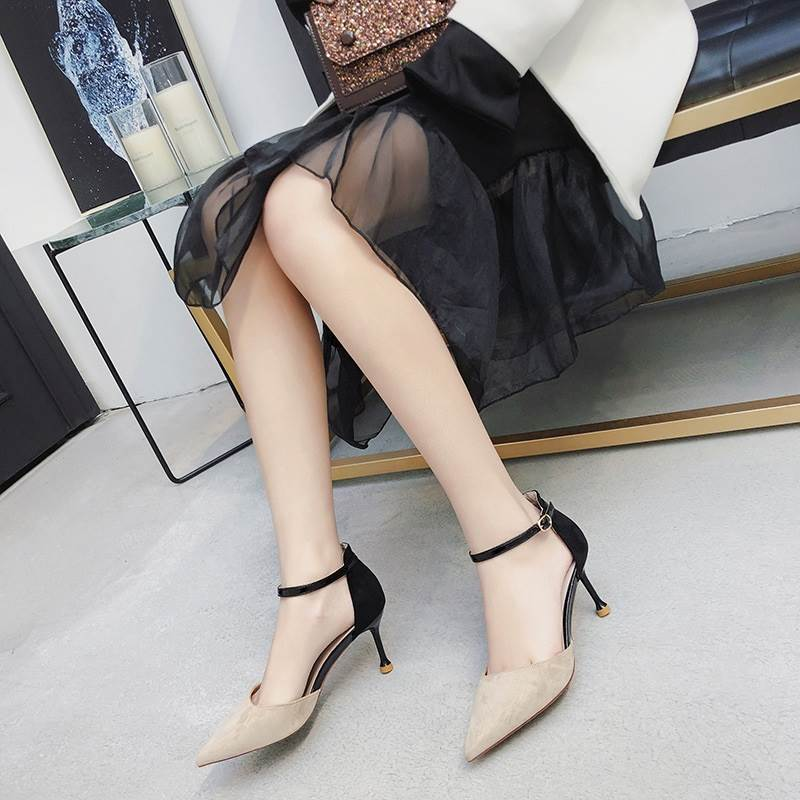 Sandals for women in summer of 2019: pointed hollow shoes with metal thin heel and suede buckle